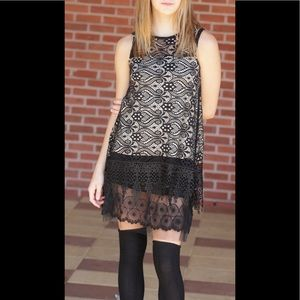 Altar'd State Black/Taupe Lace Tunic Shift Dress